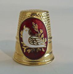 Vintage Brass Vernon Thimble w Enameled White Dove Bird on Olive Branch   eBay