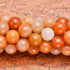 12mm natural orange aventurine gemstone round beads 15 by soyon, $12.00