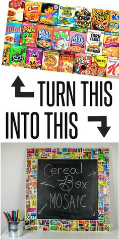 KIDS CRAFT   Repurpose cereal boxes into a mosaic frame. This is a fun, simple craft for kids that they can actually use later!
