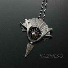 (C) KAZNESQ Black star sapphire steampunk fan motif oxidized silver pendant necklace.