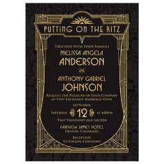 Black and gold art deco roaring 20s Great Gatsby style wedding invitation. Perfect for a roaring twenties style Gatsby wedding. Elegant and sophisticated.