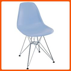 LexMod Plastic Side Chair in Blue with Wire Base - Improve your home (*Amazon Partner-Link)