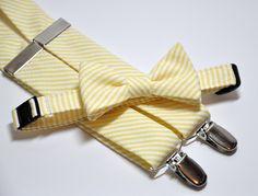 woohoo, finally finalized the groomsmen attire! Bow Tie and Suspender Set Yellow Striped Seersucker. $45.99, via Etsy.