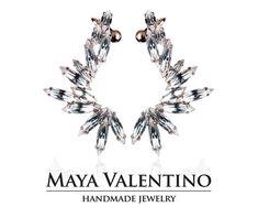 Swarovski ear cuff Rose gold ear cuff crystal ear by MayaValentino Ear Crawler Earrings, Cuff Earrings, Rhinestone Earrings, Climbing Earrings, Silver Ear Cuff, Jewelry Model, Selling Jewelry, Designer Earrings, Jewelry Trends