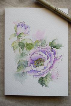 Purple Peony Watercolor Painted Card Original Art by SunsetPeonies