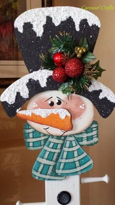 Cute Snowman Wood Craft that is the Stocking Holder Snowman.  Winter Craft: