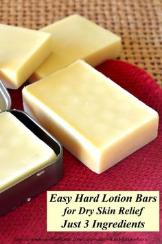 http://commonsensehome.com/ Try these super easy hard lotion bars made with just 3 ingredients.
