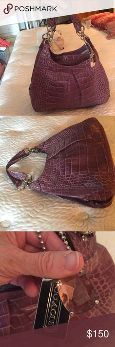 COACH ALL LEATHER Purple reptile hand bag. Hard to Find beautiful purple bag with 3 dividers plus2 outside corner compartments. Coach Bags Shoulder Bags