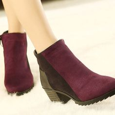 Simple Fashion Middle High Heel Round Toe Cap Motocycle Block Ancle Boots