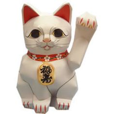 Japanese lucky cat calling people to come, free downloadable paper pattern.