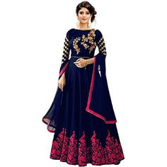 Mahalaxmi Fashion Women's Cotton Silk Anarkali Gown (Blue and Pink Free Size) Long Anarkali Gown, Net Gowns, Ethnic Gown, Indian Ethnic, Shiny Fabric, Blue Fabric, Silk Lehenga, Lehenga Style, Floor Length Gown