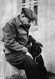 Vladimir Lenin with Dog by  Unknown Artist