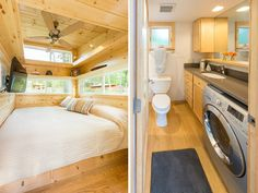 Traveler XL by Escape Traveler - Tiny Living Tiny House Plans, Tiny House On Wheels, Tiny House Mobile, Vie Simple, Loft Storage, Small Space Solutions, Tub Shower Combo, Sleeping Loft, Tiny Spaces