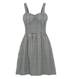 Monochrome Gingham Sweetheart Neck Skater Dress