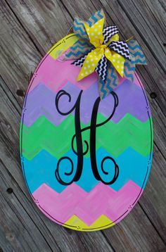 Personalized Easter Egg Door Hanger Spring Door by NeedmoreHeart, $32.00