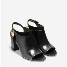 Cole Haan open toe booties Open toe. Strap in back booties. In good used condition. Extremely comfortable Cole Haan Shoes Ankle Boots & Booties