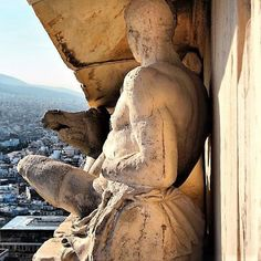 A unique shot from the east pediment of Parthenon with a stunning view to modern Athens! Greece History, Ancient Beauty, Parthenon, Stunning View, Beautiful, Ancient Greece, Greece Travel, Athens, Archaeology