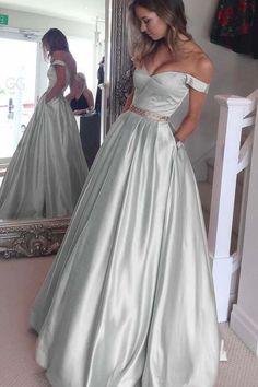 Light blue satin prom dress, ball gown, elegant off the shoulder dress for prom 2017