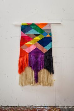 """""""Tapestry weaving is a unique art form. On the loom its a process in time with repetition and variation like music. A good musical composi. Weaving Textiles, Weaving Art, Tapestry Weaving, Loom Weaving, Hand Weaving, Weaving Projects, Woven Wall Hanging, Weaving Techniques, Fabric Art"""