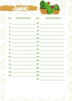 Planner Cactos 2019 metas junho