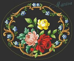 View album on Yandex. Wool Embroidery, Embroidery Patterns Free, Cross Stitch Embroidery, Needlepoint Stitches, Needlepoint Kits, Needlework, Cross Stitch Rose, Cross Stitch Flowers, Cross Stitch Designs