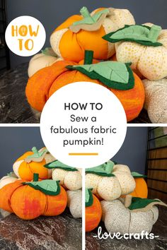 Give your Halloween decorations a stylish upgrade with these gorgeous fabric pumpkins! Make them in every colour of the rainbow, you're spoilt for choice. | Learn with LoveCrafts.com Halloween Crafts, Halloween Decorations, Fabric Pumpkins, Little Monsters, Fabulous Fabrics, Rainbow Colors, Dinosaur Stuffed Animal, Homemade, Colour