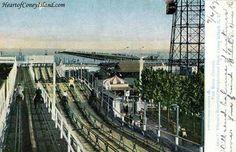 Race Course Tilyou Steeplechase Amusement Park Coney Island New York City 1908 postcard Coney Island Amusement Park, Amusement Parks, Honolulu Hawaii, South Bend, World's Fair, Brighton, Wisconsin, New York City, Racing