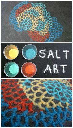 Salt art kids activity- FUN!