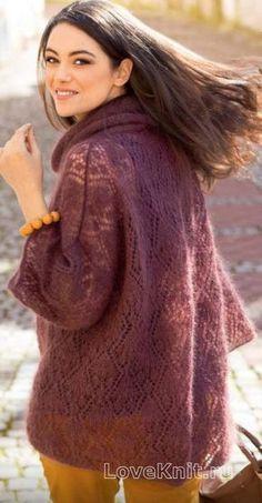 Спицами пуловер оверсайз с ажурным узором фото к описанию