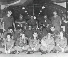 The 93rd Evacuation Hospital - Vietnam - Ward 5. Front Row: CPT Byrd, LT Reynolds, CPT Conder, CPT Durand, CPT Thoesen Second Row: SP4 Steel, SP4 Dotson, SP4 Hendershot, SFC Philips, SP6 Brown Third Row: PFC Like, SP4 Detty, PFC Bierman, SP4 Gentry, SP4 Young