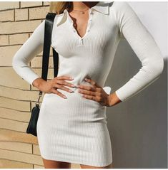 Sexy Winter Outfits, Winter Dresses, Chic Outfits, Fashion Outfits, Blush Dresses, Long Sleeve Mini Dress, Bodycon Dress, Dresses With Sleeves, Polo Neck