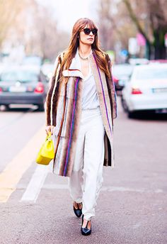 look all white casaco listrado
