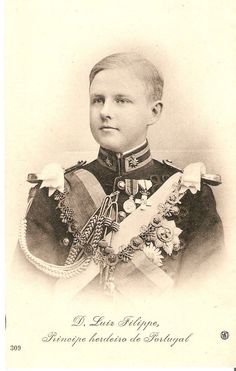 D.  Luís Filipe, Prince Royal of Portugal, Duke of Braganza, (1887 – 1908) was the eldest son  heir-apparent of King Carlos I of Portugal. He was born while his father was still Prince Royal of Portugal,  received the usual style of the heirs to the heir of the Portuguese crown: he was then at birth 4th Prince of Beira, with the subsidiary title of 14th Duke of Barcelos. He had an untimely end at age 20, when he  his father King Carlos were assassinated by anarchists.