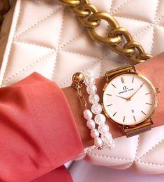 𝕓𝕝𝕚𝕟𝕘𝕓𝕝𝕚𝕟𝕘𝕤✨ . #armcandy #blingblings #fashion #armparty #accessories #jewelry #bracelet #angelaura Pearl Bracelet, Bracelet Watch, Arm Party, Gold Watch, Watches, Pearls, Chain, Bracelets, Pink