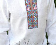 Vyshyvanka mens Ukrainian Embroidered shirt by GLAZDOV on Etsy