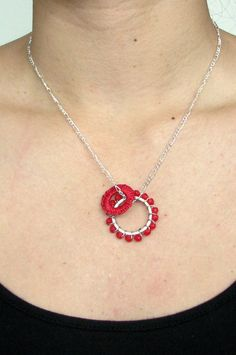 Macrame Wire Wrapped Beaded Necklace - Red Circle Pendants with Silver Chain. $22.00, via Etsy.
