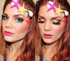 Coral makeup  creative colorful makeup