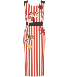 Dolce & Gabbana - Striped cotton dress with appliqué - Dolce & Gabbana imbues this dress with all the charm of the Italian seaside with nautical stripes and delightful appliqué. The textured cotton design features a figure-highlighting elastic at the waist, accentuating the open back. Wear this playful style with sandals when heading to the beach or strolling through the city. seen @ www.mytheresa.com