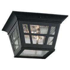 Entry porch - Herrington Two-Light Black Outdoor Flush Mount
