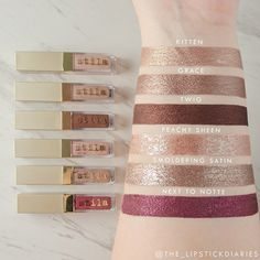 Swatches of the @stilacosmetics Eye For Elegance Liquid Eye Shadow Set! Including Kitten, Grace and Twig which are all the new Shimmer & Glow shadows and Peachy Sheen, Smoldering Satin and Next to Notte which are the Glitter & Glow shadows! I really like Shimmer & Glow formula, they're a thicker liquid without any glitter, more like your typical liquid eyeshadows. via @the_lipstickdiaries