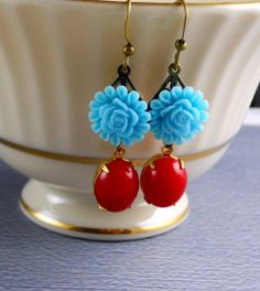 Vintage Coral Red Aqua Blue Flower Earrings. $16.50, via Etsy.