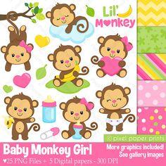 Baby Monkey Girl - Clipart and Digital paper set - Monkey clip art