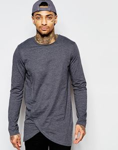 ASOS Longline Long Sleeve T-Shirt With Asymmetric Curve Hem