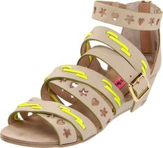 BETSY JOHNSON SANDALS in CanyonGate's Garage Sale in Richmond , TX for $25.00. Betsey Johnson Women's Bollt Wedge Sandal. Crisscross strap design has  heart and star-shaped cut details. Never been outside the house, Still  in designer box. Bone Leather.