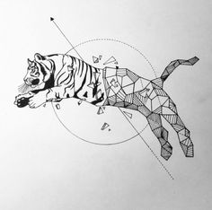 Geometric Tiger art simple pencils. Inspired by - @Kerbyrosanes
