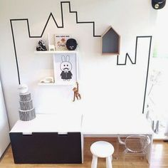 Mommo design: black and white ikea hacks for kids playroom - Clear Chairs, Deco Kids, White Rooms, Kids Corner, Kid Spaces, Decorating On A Budget, Ikea Hacks, Kids House, Kids Decor