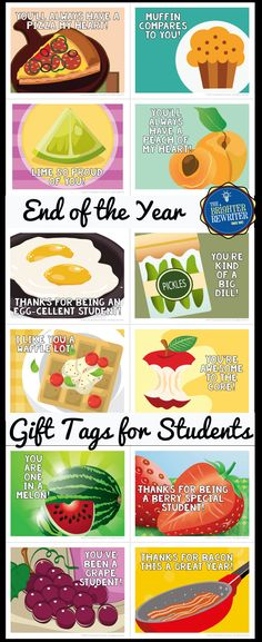 These 12 cute cards with funny food puns can go with any EOY teacher-to-student gifts. You'll have one last chance for a bit of critical thinking practice before saying goodbye to your students as they figure out the puns!