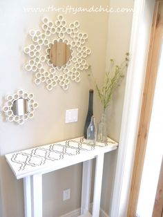 Create beautiful patterned mirror or picture frames using PVC pipes!      PVC piping and more available at the ReStore Warehouse!