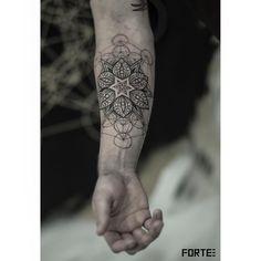 Badass Tattoos, Cool Tattoos, Tatoos, Mandala Tattoo Design, Tattoo Designs, Sri Yantra Tattoo, Flower Of Life Tattoo, Popular Tattoos, Forearm Tattoos