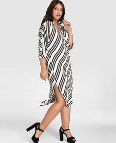 Vestido de mujer talla grande Couchel con estampado de rayas